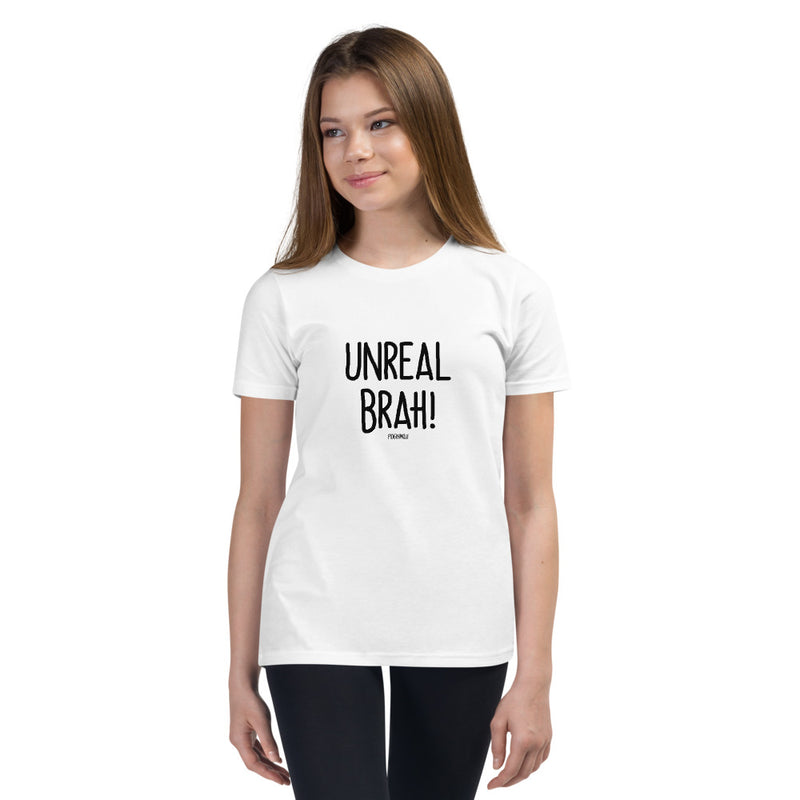 """UNREAL BRAH!"" Youth Pidginmoji Light Short Sleeve T-shirt"