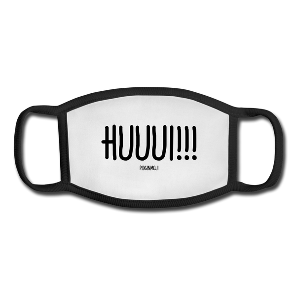 """HUUUI!"" Pidginmoji Face Mask (White) - white/black"