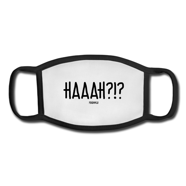 """HAAAH?!?"" Pidginmoji Face Mask (White) - white/black"