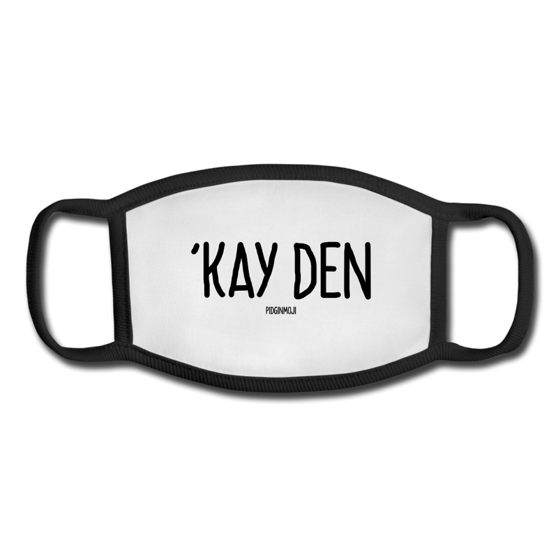 """'KAY DEN"" Pidginmoji Face Mask (White) - white/black"