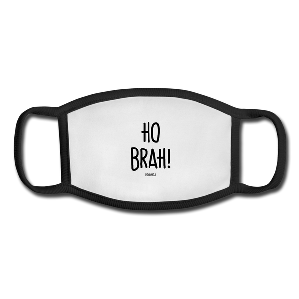 """HO BRAH!"" Pidginmoji Face Mask (White) - white/black"