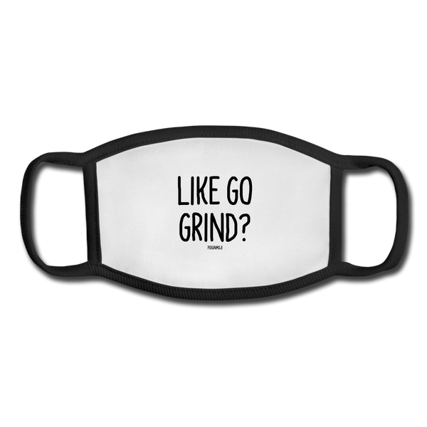"""LIKE GO GRIND?"" Pidginmoji Face Mask (White) - white/black"