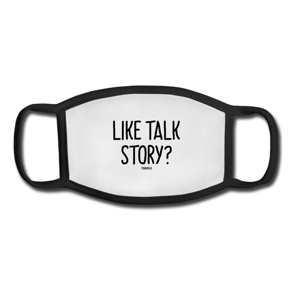 """LIKE TALK STORY?"" Pidginmoji Face Mask (White) - white/black"