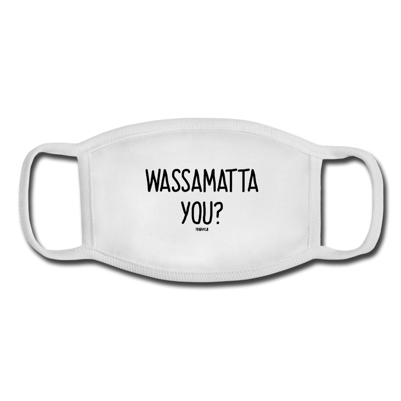 """WASSAMATTA YOU?"" Pidginmoji Face Mask (White) - white/white"