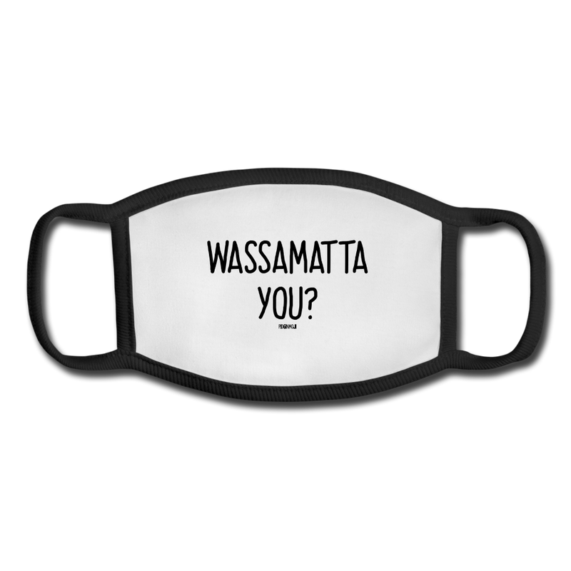 """WASSAMATTA YOU?"" Pidginmoji Face Mask (White) - white/black"