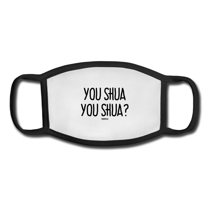 """YOU SHUA YOU SHUA?"" Pidginmoji Face Mask (White) - white/black"