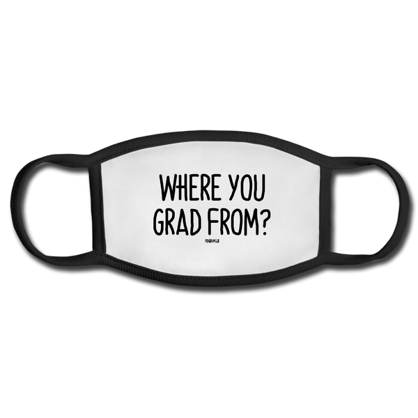 """WHERE YOU GRAD FROM?"" PIDGINMOJI FACE MASK FOR ADULTS (WHITE) - white/black"