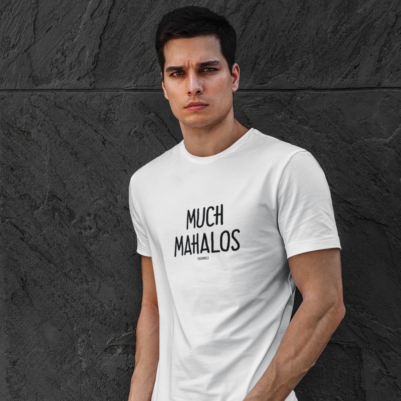 """MUCH MAHALOS"" Men's Pidginmoji Light Short Sleeve T-shirt"