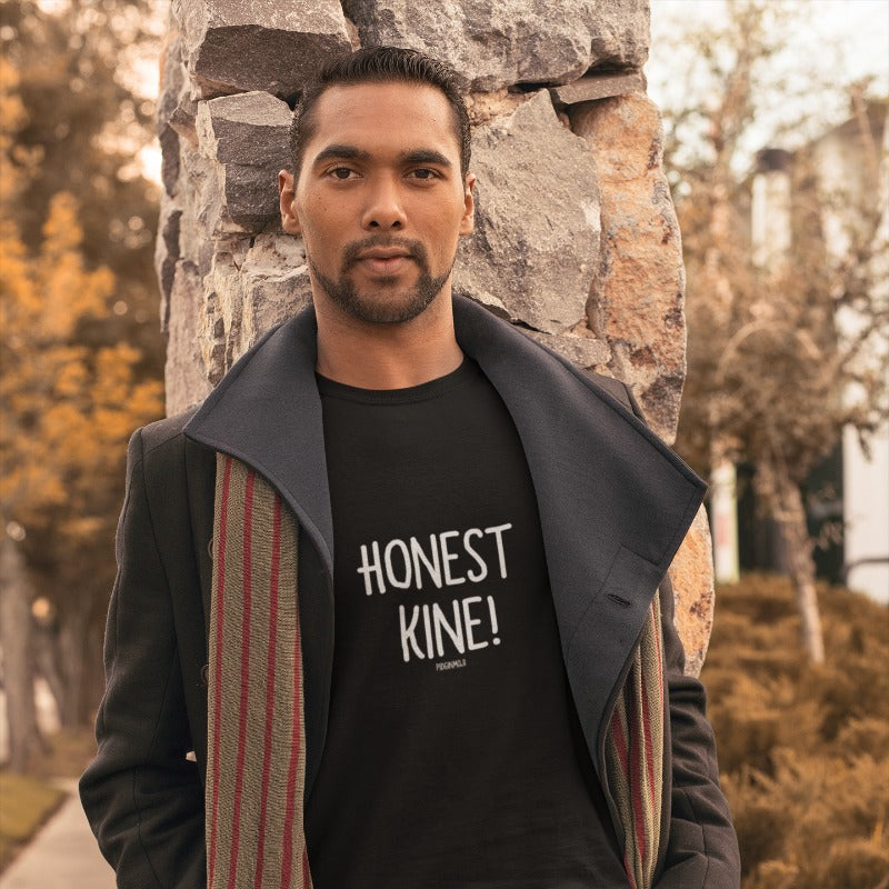 """HONEST KINE!"" Men's Pidginmoji Dark Short Sleeve T-shirt"