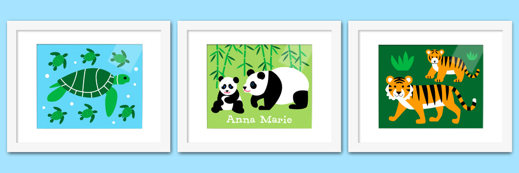Endangered Animals Personalized Kids Framed Print Set of 3 by Olive Kids