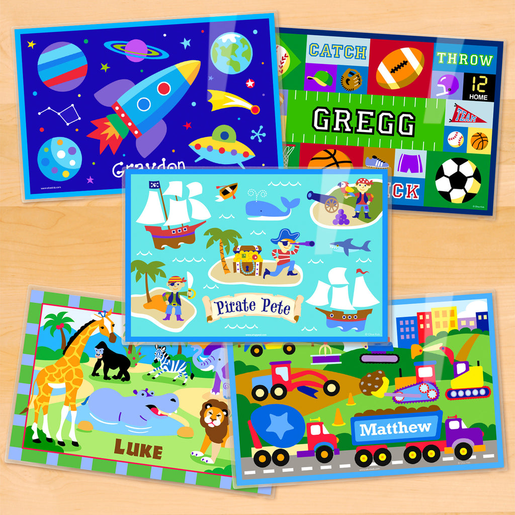Boys Personalized Kids Placemats Set of 5 from Art Appeel featuring space, sports, pirates, jungle, and construction kids name mats