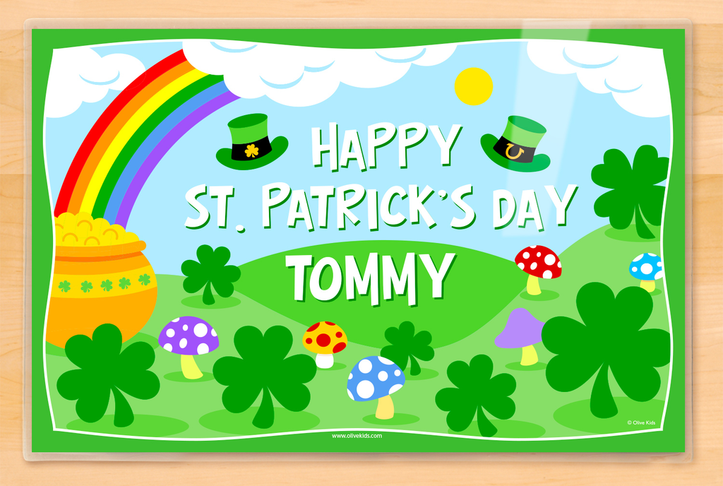 St. Patrick's Day Personalized Kids Name Placemat from Art Appeel with Shamrocks and a Pot of Gold