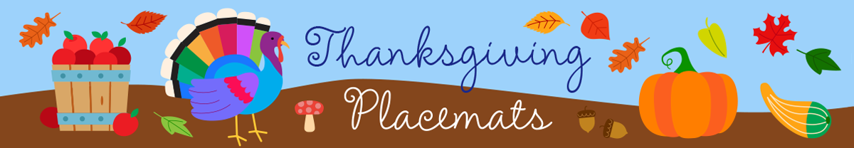 Personalized Thanksgiving Children's Name Placemats Custom Made In Our New Hampshire Studio