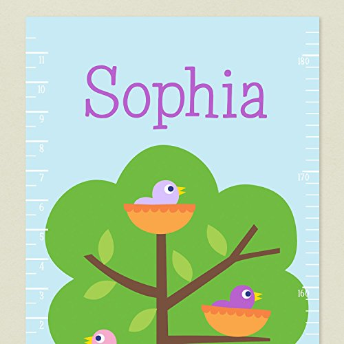 Close up of Baby Birds Decal Grwth Chart with Baby Bird in Nest on green tree background and personalized name.