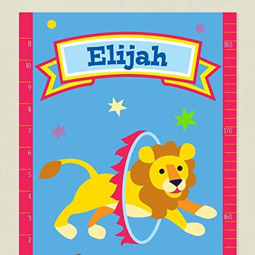 Close up of Circus Growth Chart with Lion jumping through hoop and Name for personalization in banner at top. Blue background with color stars.