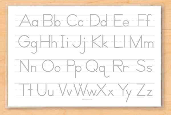 Reverse side features grey upper and lower case alphabet on lined primary paper