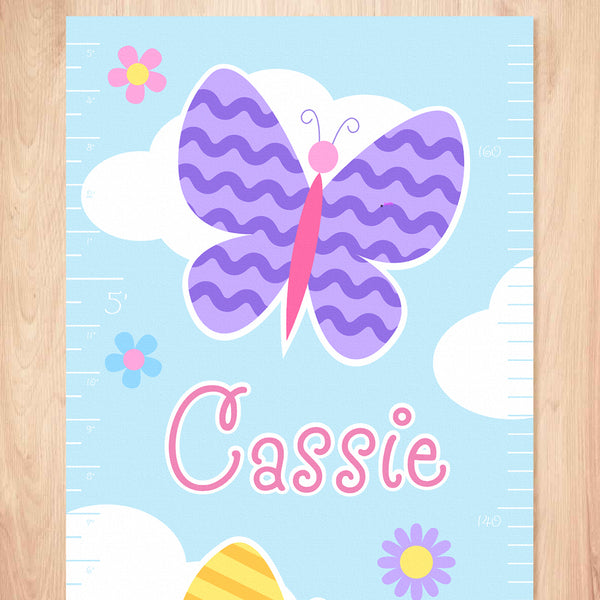 Butterfly Garden Personalized Kids Canvas Growth Chart