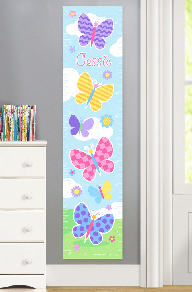 Colorfully patterned butterflies on a summery scene canvas growth chart