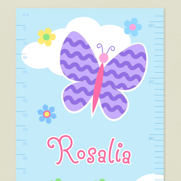 Close up of Butterfly Garden Growth Chart with Purple wavy stripe butterfly on a blue sky with white cloud and flowers. Childs name in pink.