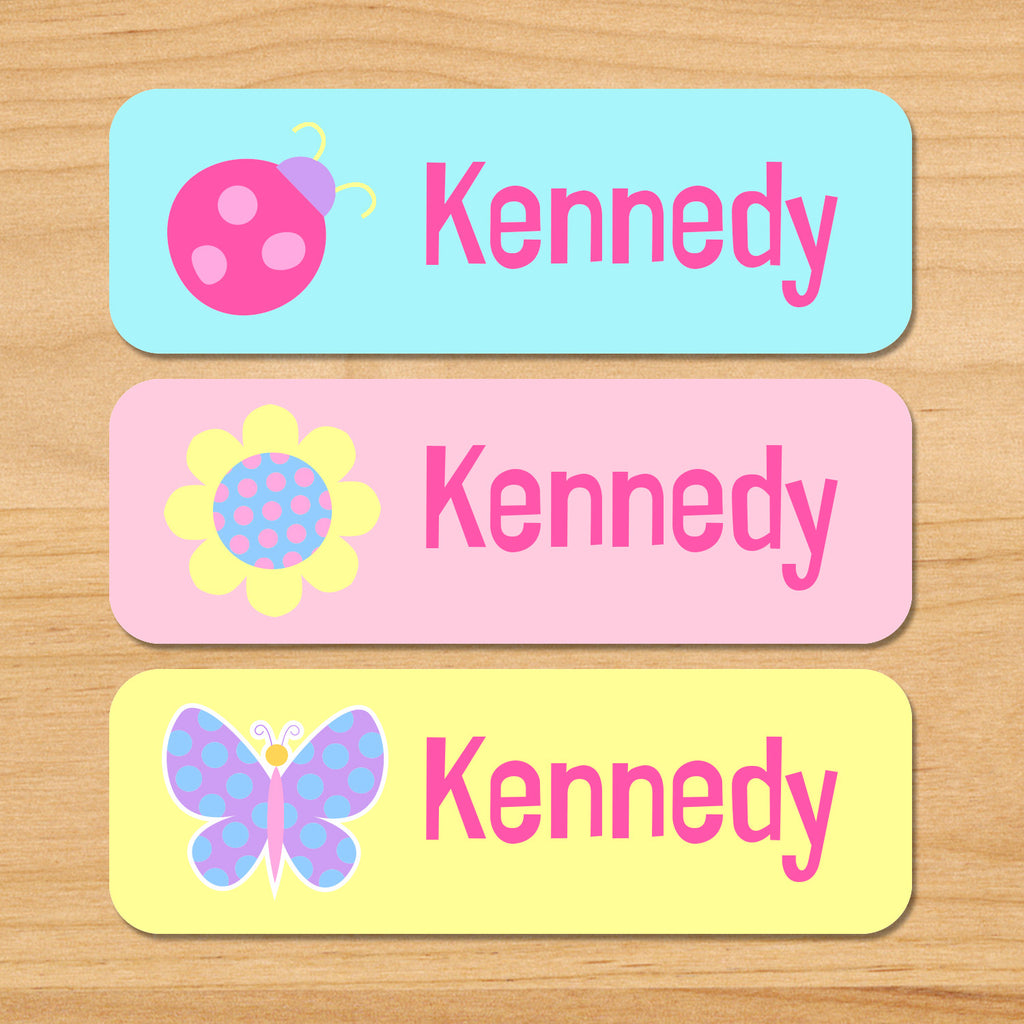 Butterfly garden kids personalized name waterproof labels with butterfly, flower, and ladybug in pastel colors