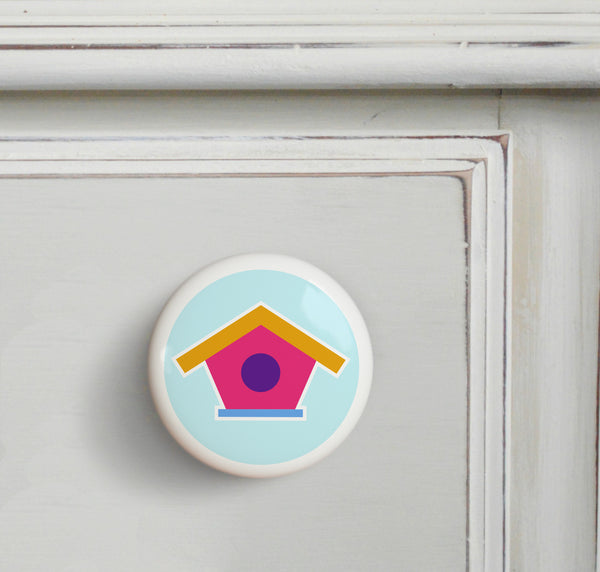 Birdhouse - Birdie Small Ceramics Kids Drawer Knob by Olive Kids from Art Appeel