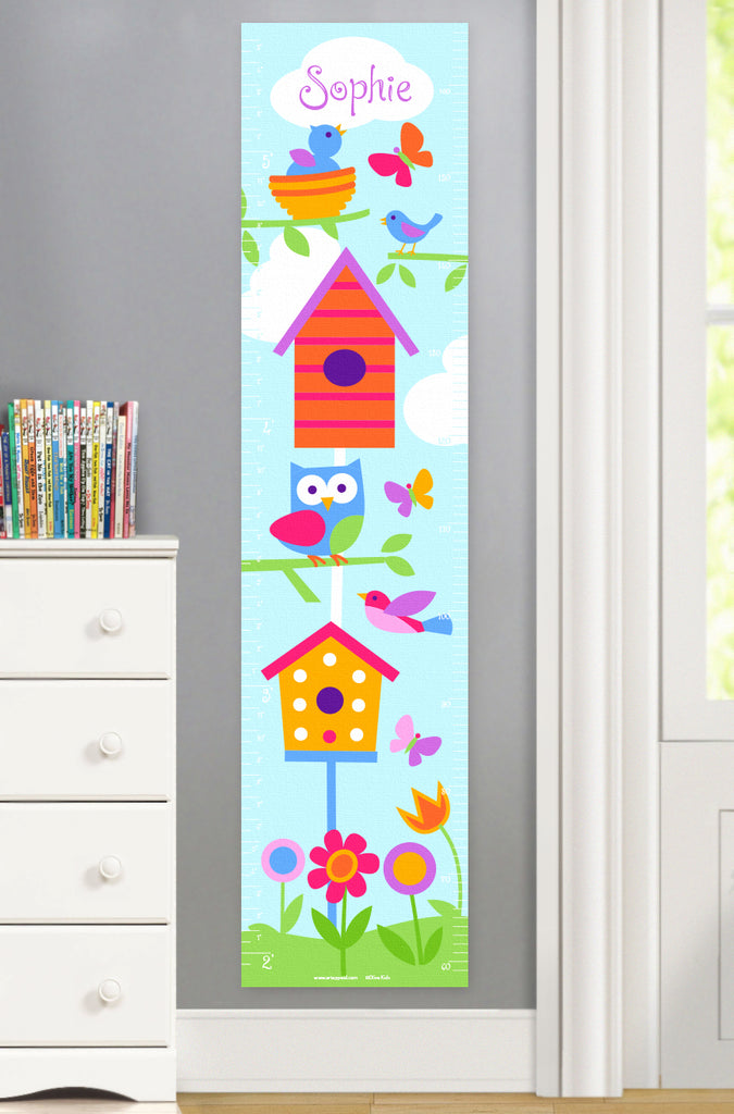 Canvas Growth Chart with Birds, Birdhouses, Butterflies and Flowers