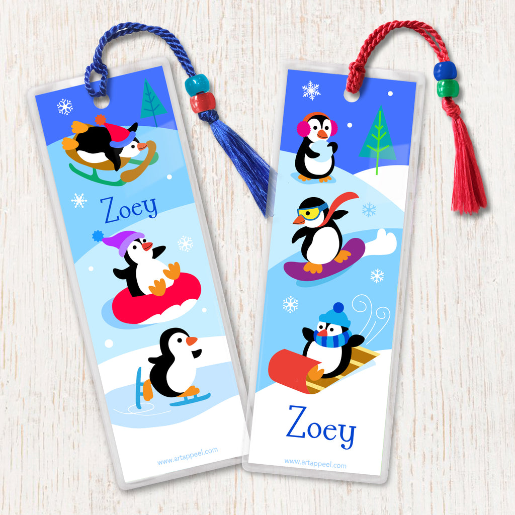 Winter Penguins Personalized Kids Bookmark Set