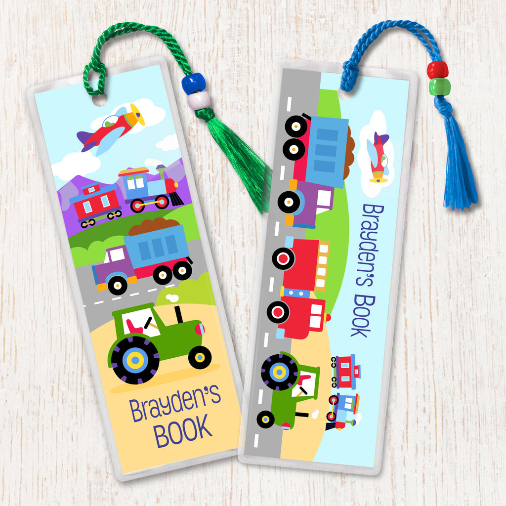 Kids personalized bookmarks with train, trucks, plane and tractor. Brightly colored and decorated with tassel and beads.