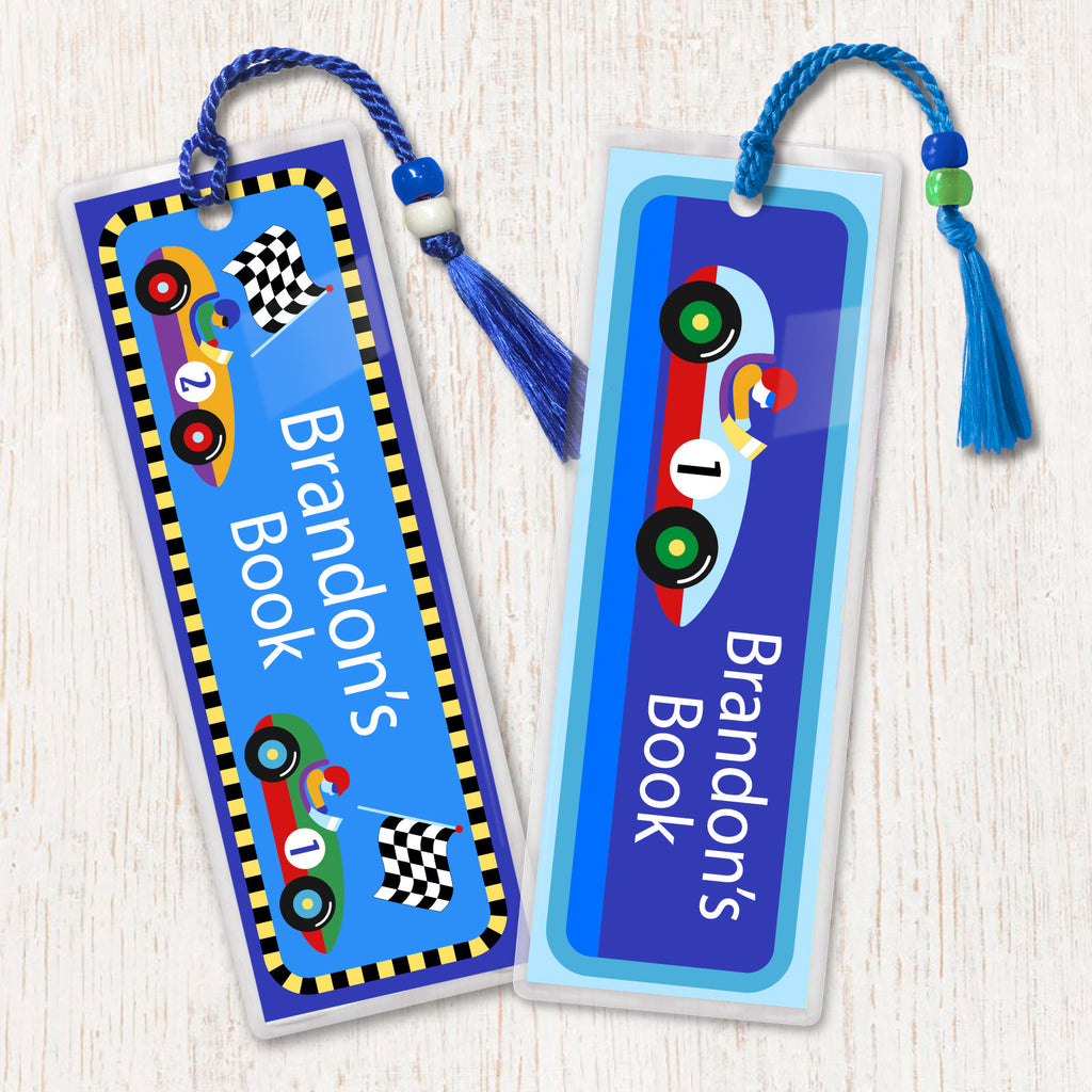 Kids personalized bookmarks with vintage racecars and checker flag. Bright colors on blue background and decorated with beads and tassel.