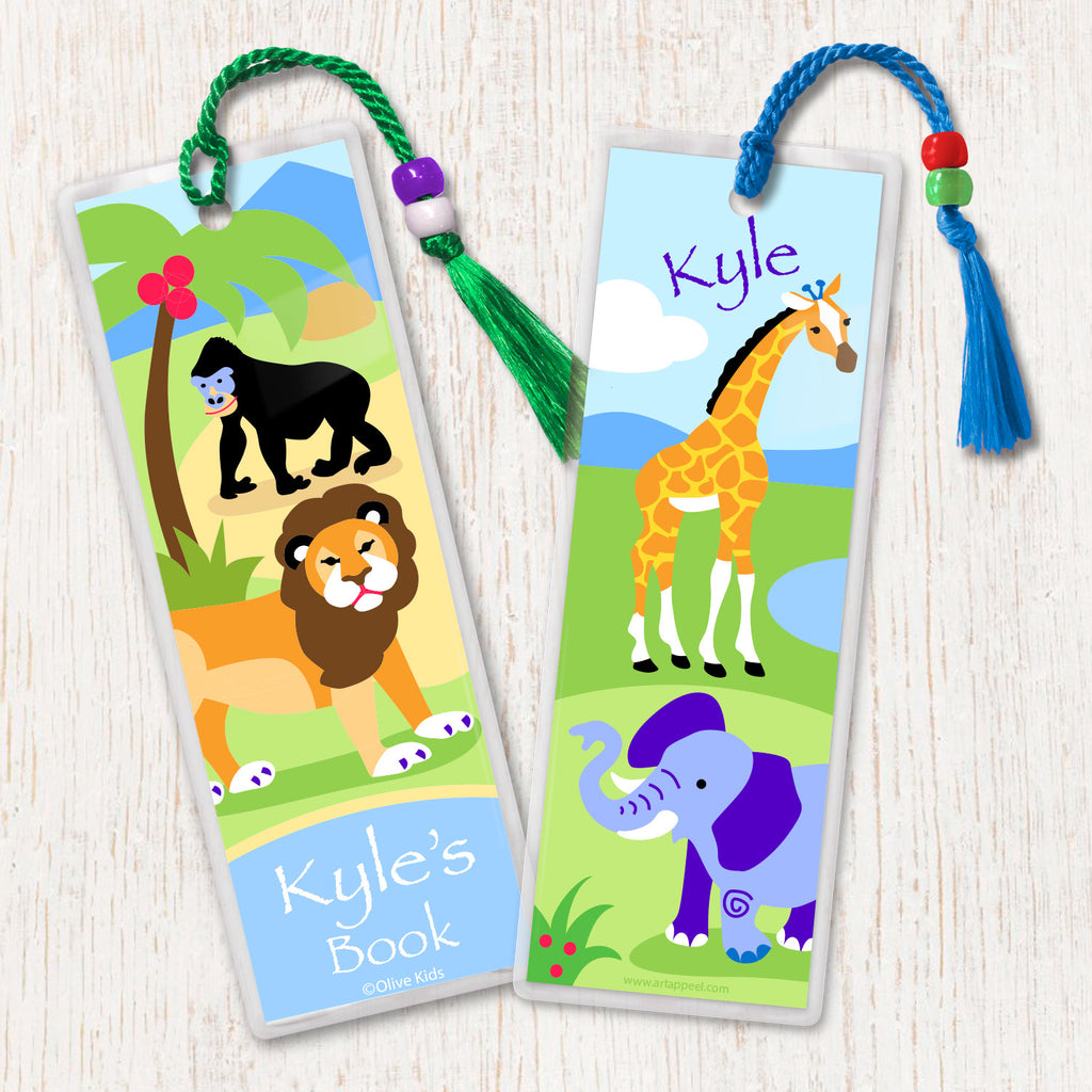 Kids personalized name bookmark with safari theme. Lion, elephant, giraffe and gorilla in landscape and decorated with tassel and beads.