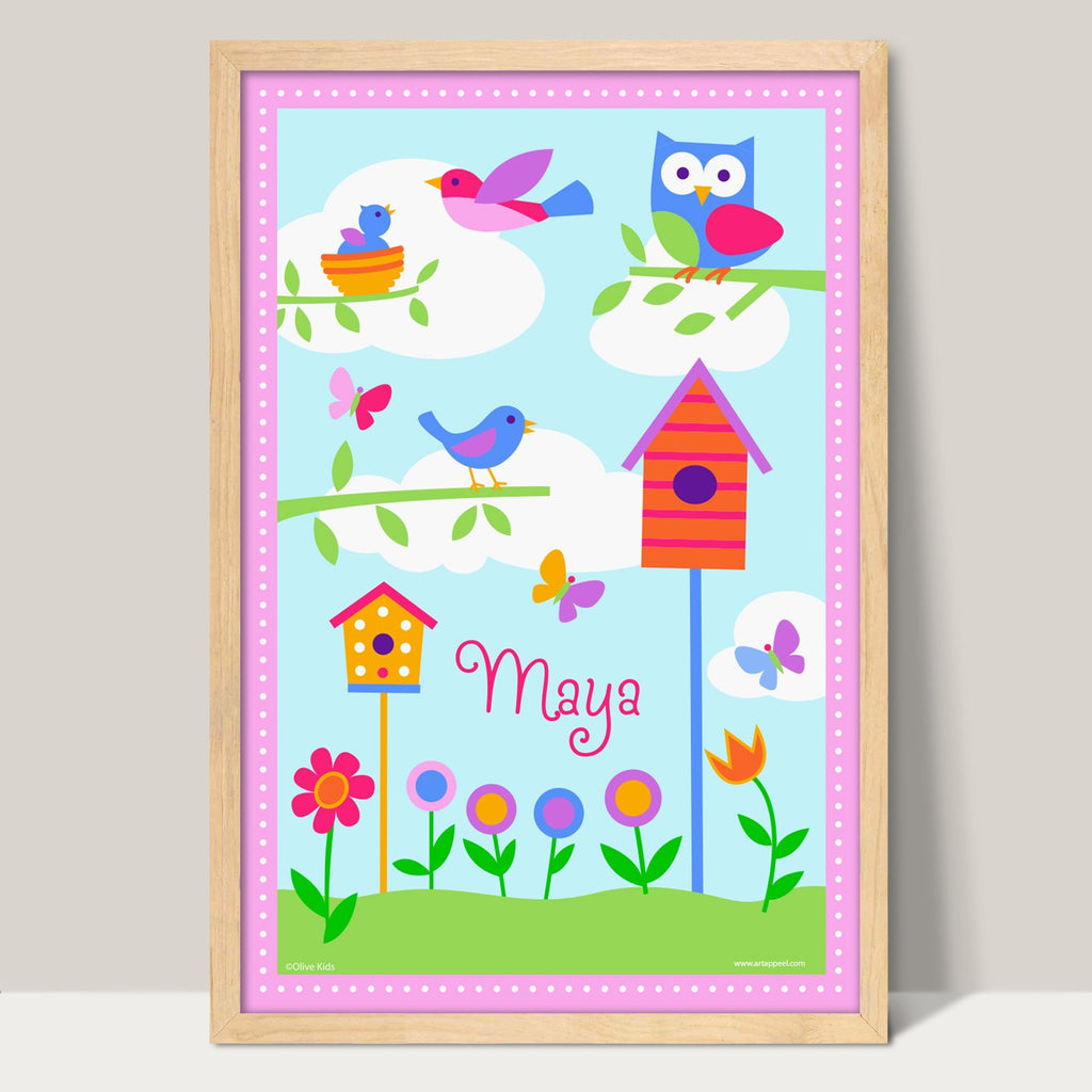 Bird Houses Personalized Art Print for Girls