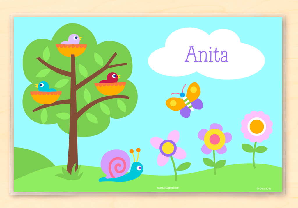 Personalized Kids Placemat with baby birds in nests, tree, flowers and butterfly. Sky blue background