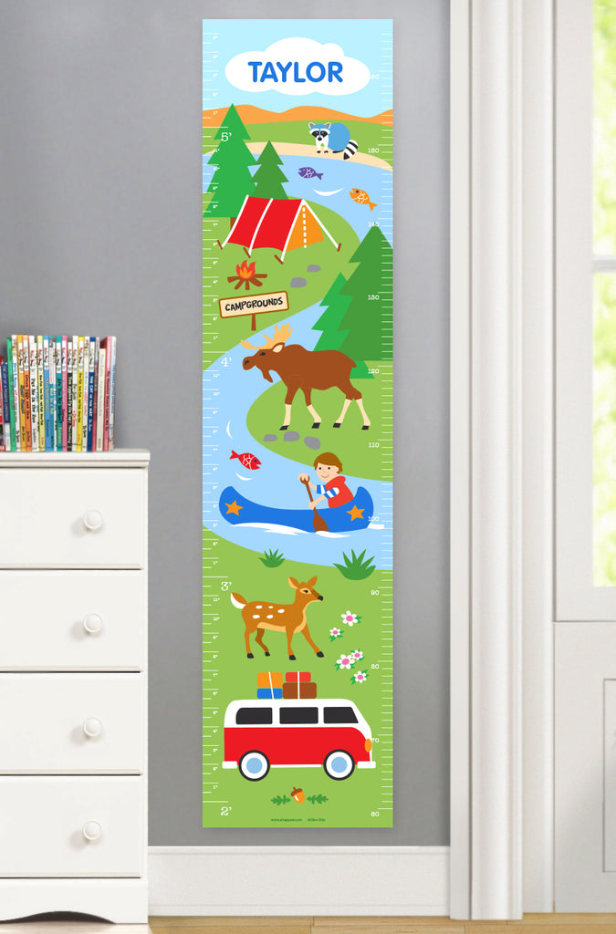 Camping Canvas growth chart featuring tent, canoeing and woodland animals