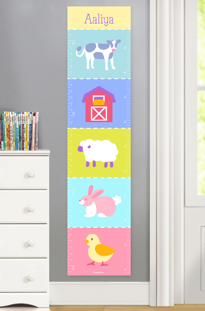 Baby growth chart featuring farm animals in pastel colors.