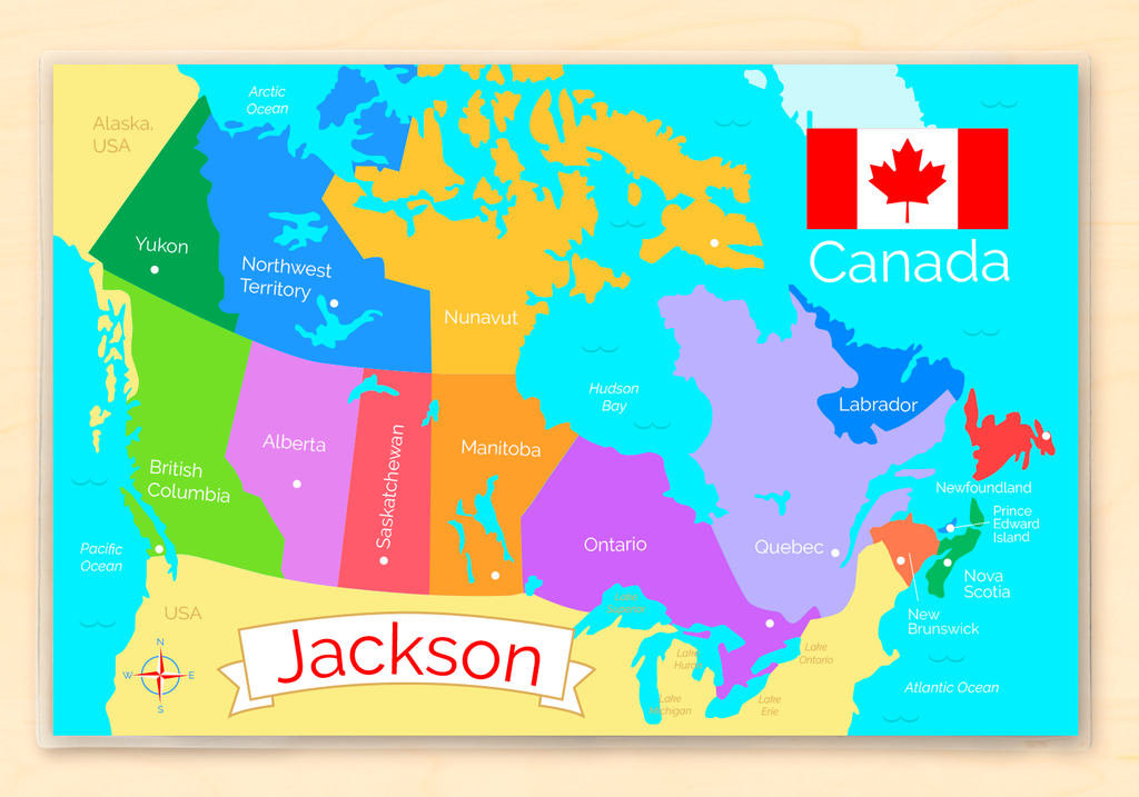 Map of Canada with provinces in multi colors.  Features personalization with name and the Canada flag.