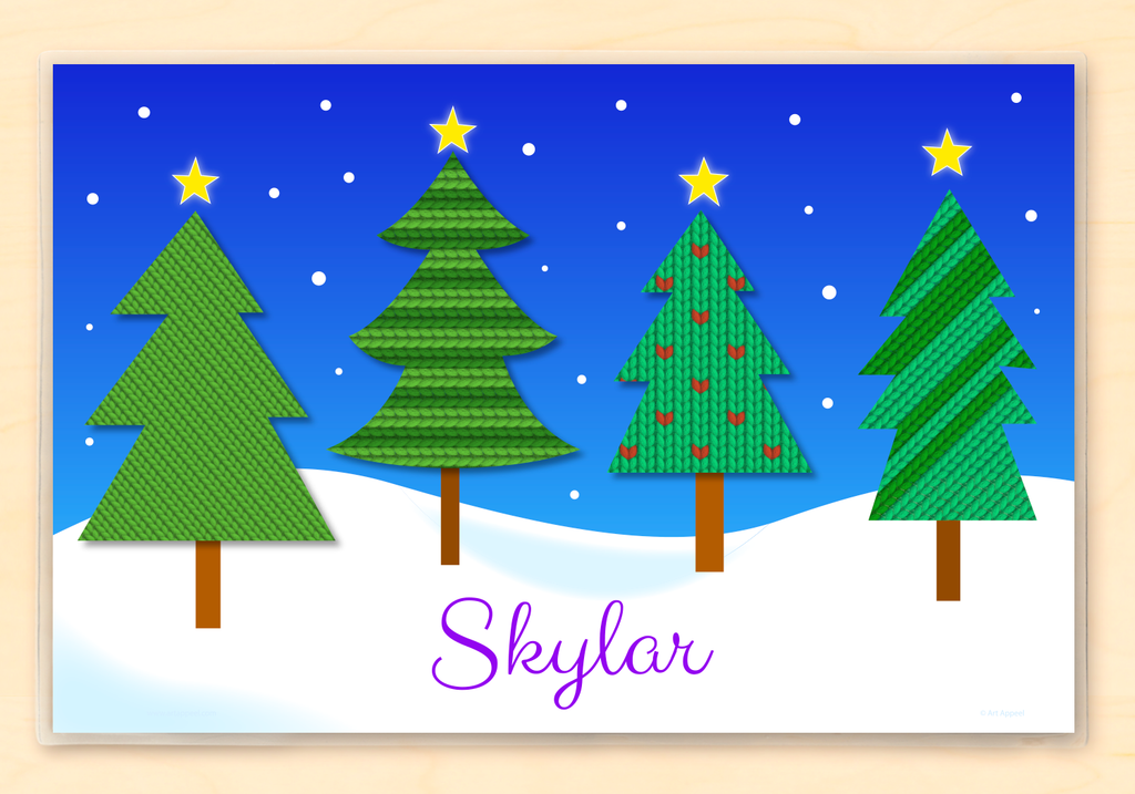 Christmas kids personalized name placemat with snowy Christmas trees in a silent night holiday scene