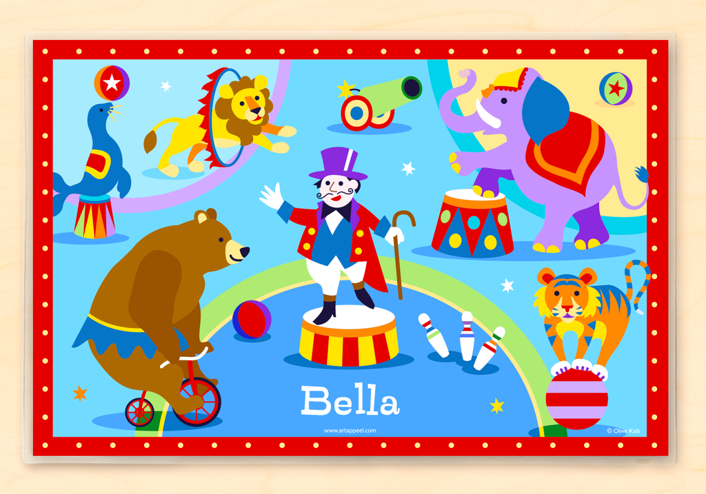 Big Top Circus Personalized Kids Placemat features a ring master, elephant and old time circus animals.  Blue and red background.