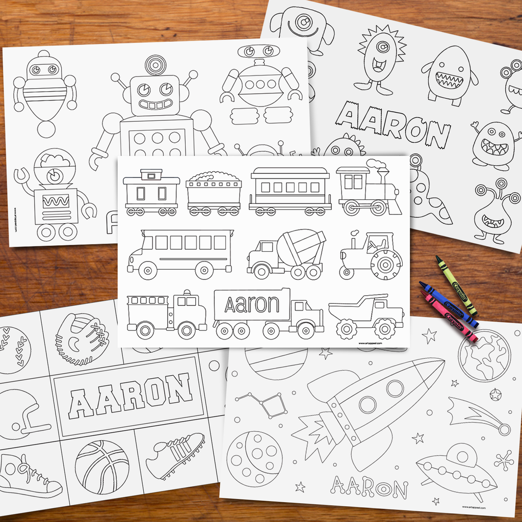 Personalized Coloring Pages Placemat Boys Set