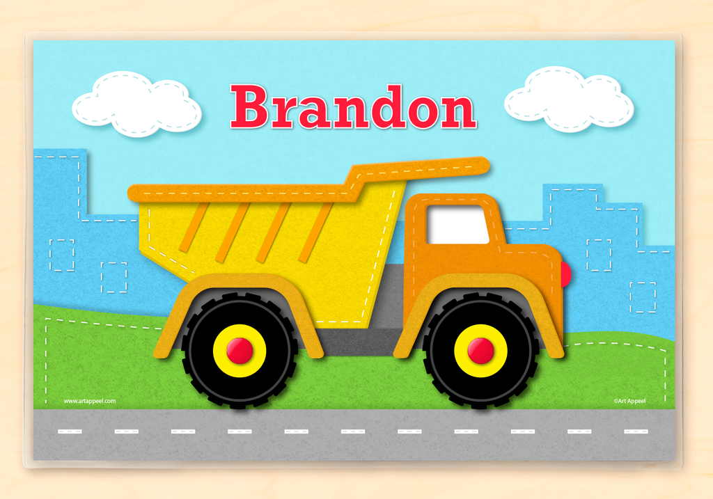 Personalized kids placemat with colorful dump truck