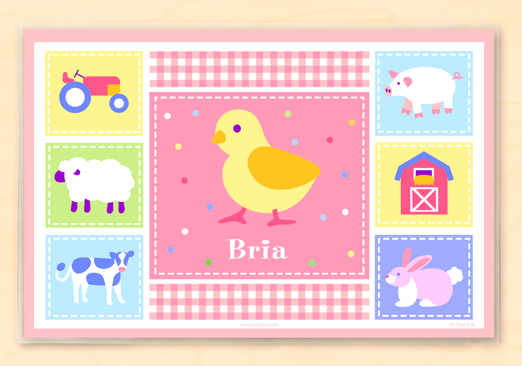 Country Baby Chick Personalized Kids Placemat Pink