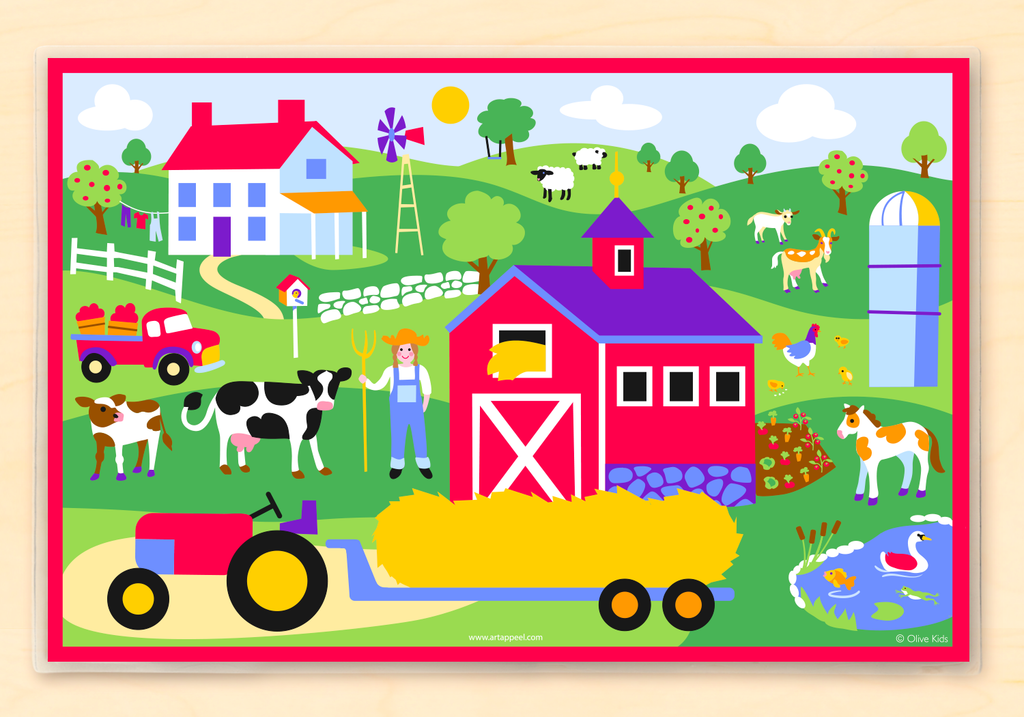 Country scene with red barn, farm house, farm animals, farmer, pond and rd tractor pulling a hay stack personalized with child's name.