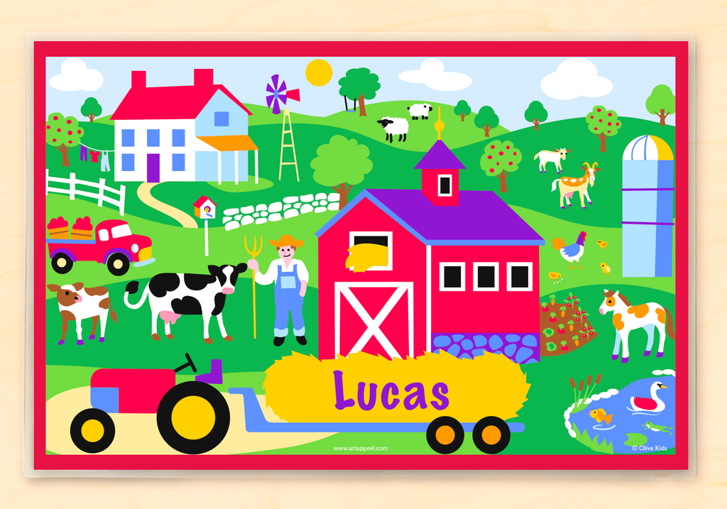 Farm Personalized Kids Placemat with tractor, farmhouse, barn, and animals