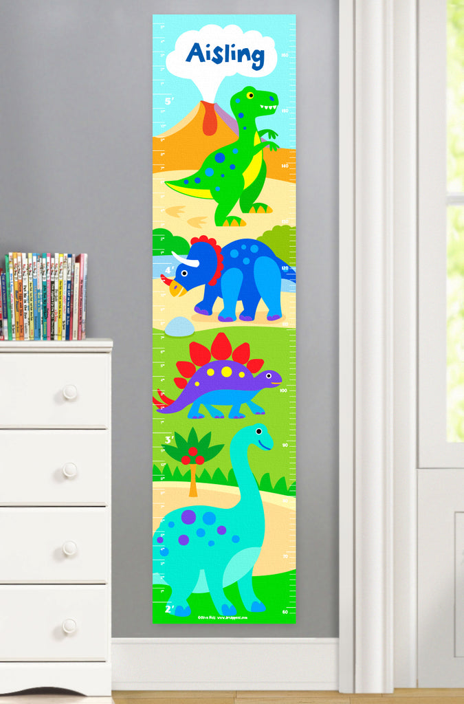 Dinosaur Land Personalized Kids Canvas Growth Chart