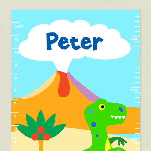 Close up of Dinosaur growth Chart with volcano and Childs name in the cloud above.
