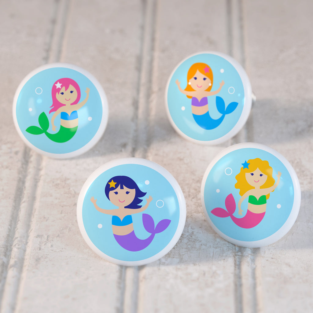 Mermaids Set of 4 Small Ceramic Kids Drawer Knobs by Olive Kids from Art Appeel