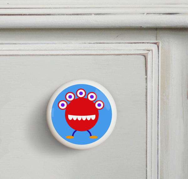 Red - Monsters Small Ceramics Kids Drawer Knob by Olive Kids from Art Appeel