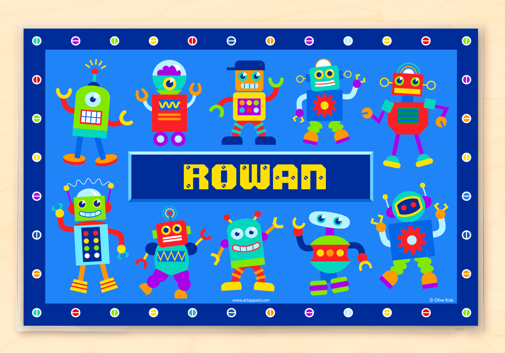 Little Robots Personalized Kids Placemat with colorful robots on a blue background