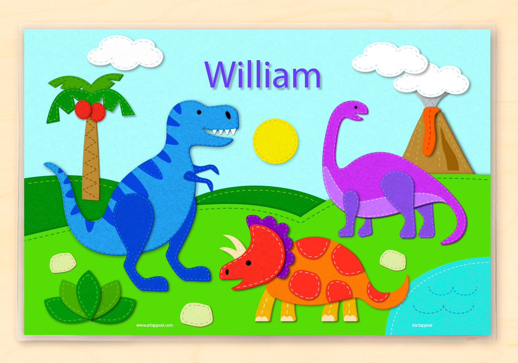 Colorful dinosaur personalized placemat