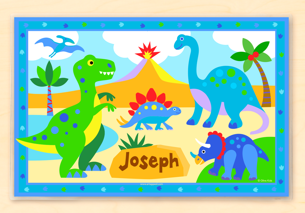 Personalized Kids Placemat with colorful dinosaurs in a prehistoric scene with trees and volcano