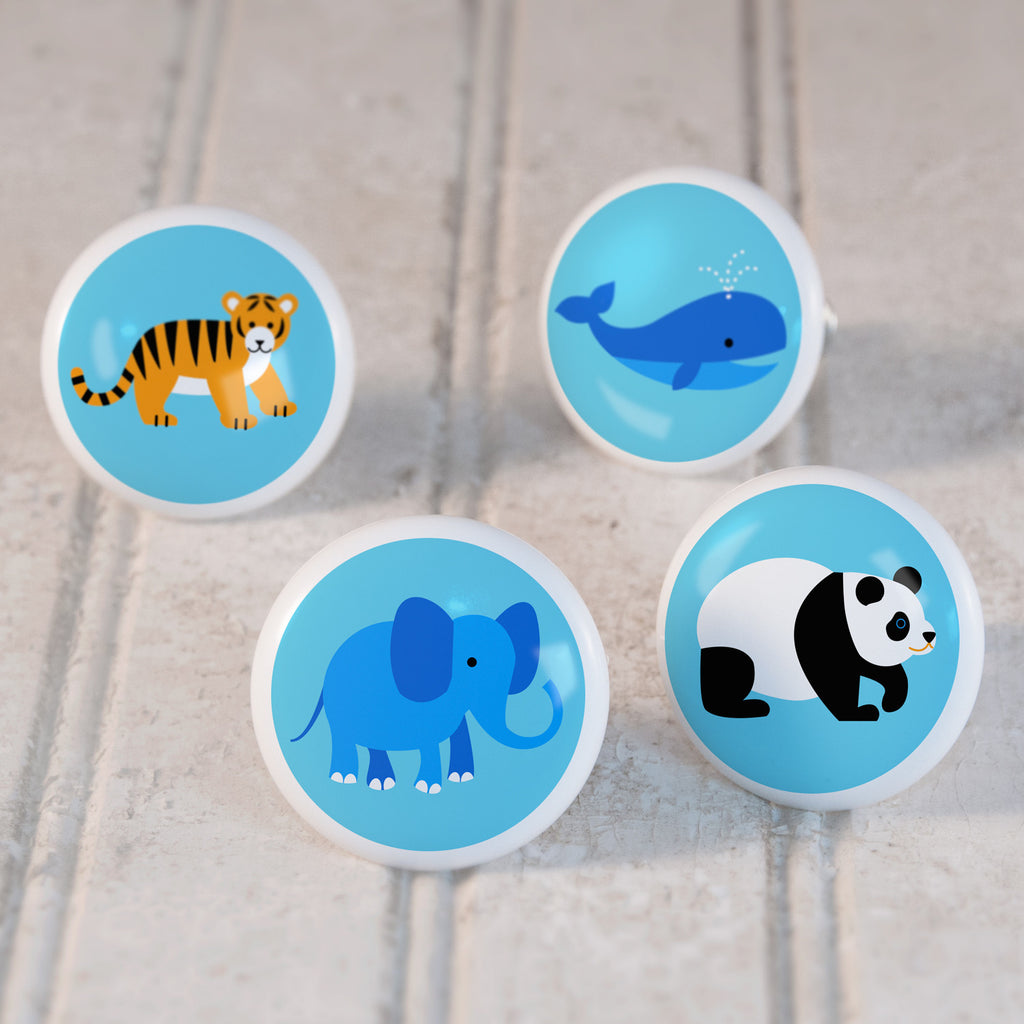 Endangered Animals Set of 4 Small Ceramic Kids Drawer Knobs by Olive Kids from Art Appeel